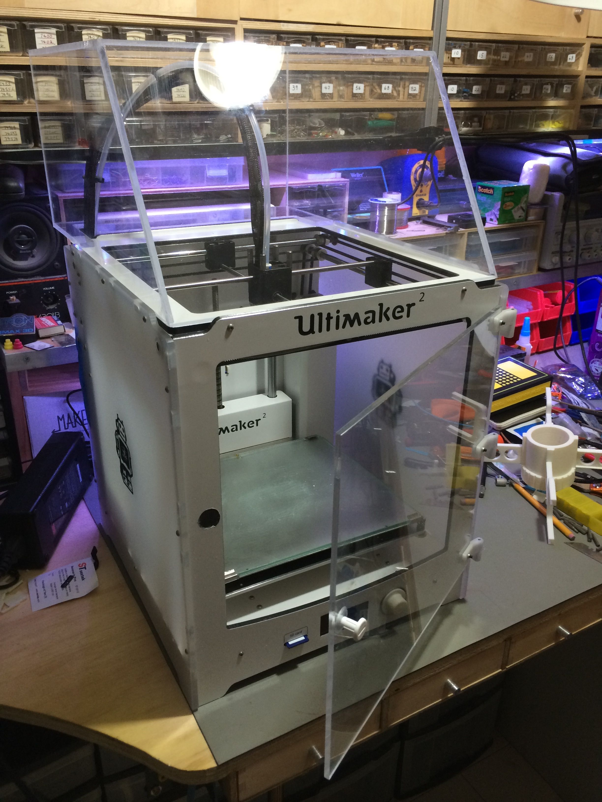 Fabricated a transparent acrylic cover and door for my Ultimaker2 3D printer. Keeps the noise down and the heat in (for warp-free ABS printing) & Fabricated a transparent acrylic cover and door for my Ultimaker2 3D ...