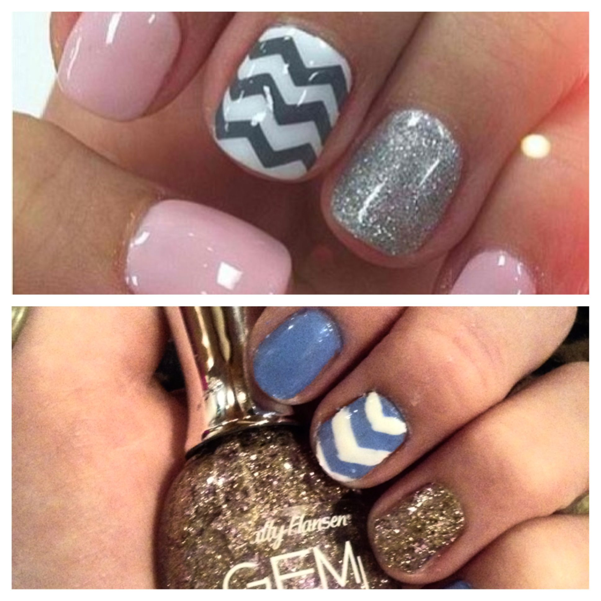 Pinterest's pink nails, vs. my nails. So proud of the outcome. :)