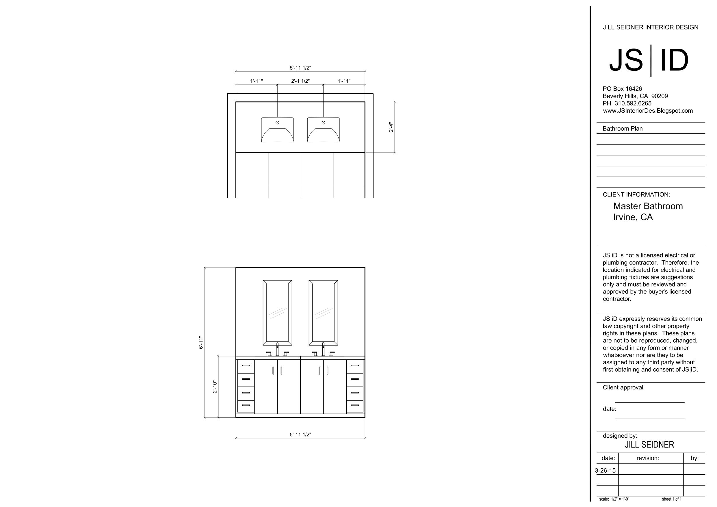 Irvine Ca Residence Master Bathroom Vanity Design Plan
