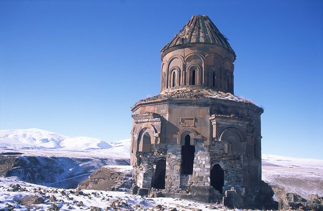Ani (Armenian: Անի) is a ruined and uninhabited medieval Armenian city-site situated in the Turkish province of Kars, near the border with Armenia. It was once the capital of a medieval Armenian kingdom that covered much of present day Armenia and eastern Turkey. At its height, Ani had a population of 100,000–200,000 people and was the rival of Constantinople, Baghdad and Cairo. Long ago renowned for its splendor and magnificence, Ani has been abandoned for centuries.