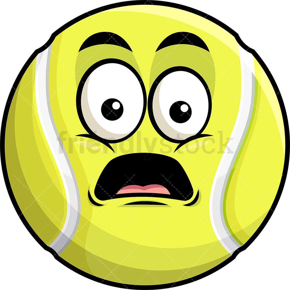 Shocked Tennis Ball Emoji Cartoon Clipart Vector Friendlystock Cartoon Clip Art Emoji Clipart Emoji