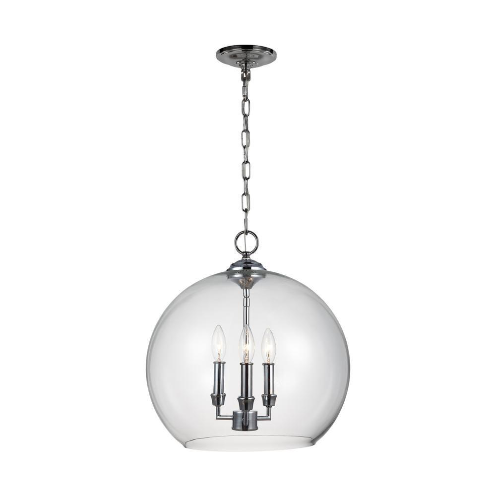 Feiss Lawler 16 In W 3 Light Chrome Pendant F3155 3ch Globe