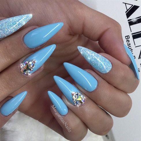 baby blue bling almond nailsmargaritasnailz  almond