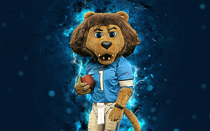 Download Wallpapers Roary 4k Mascot Detroit Lions