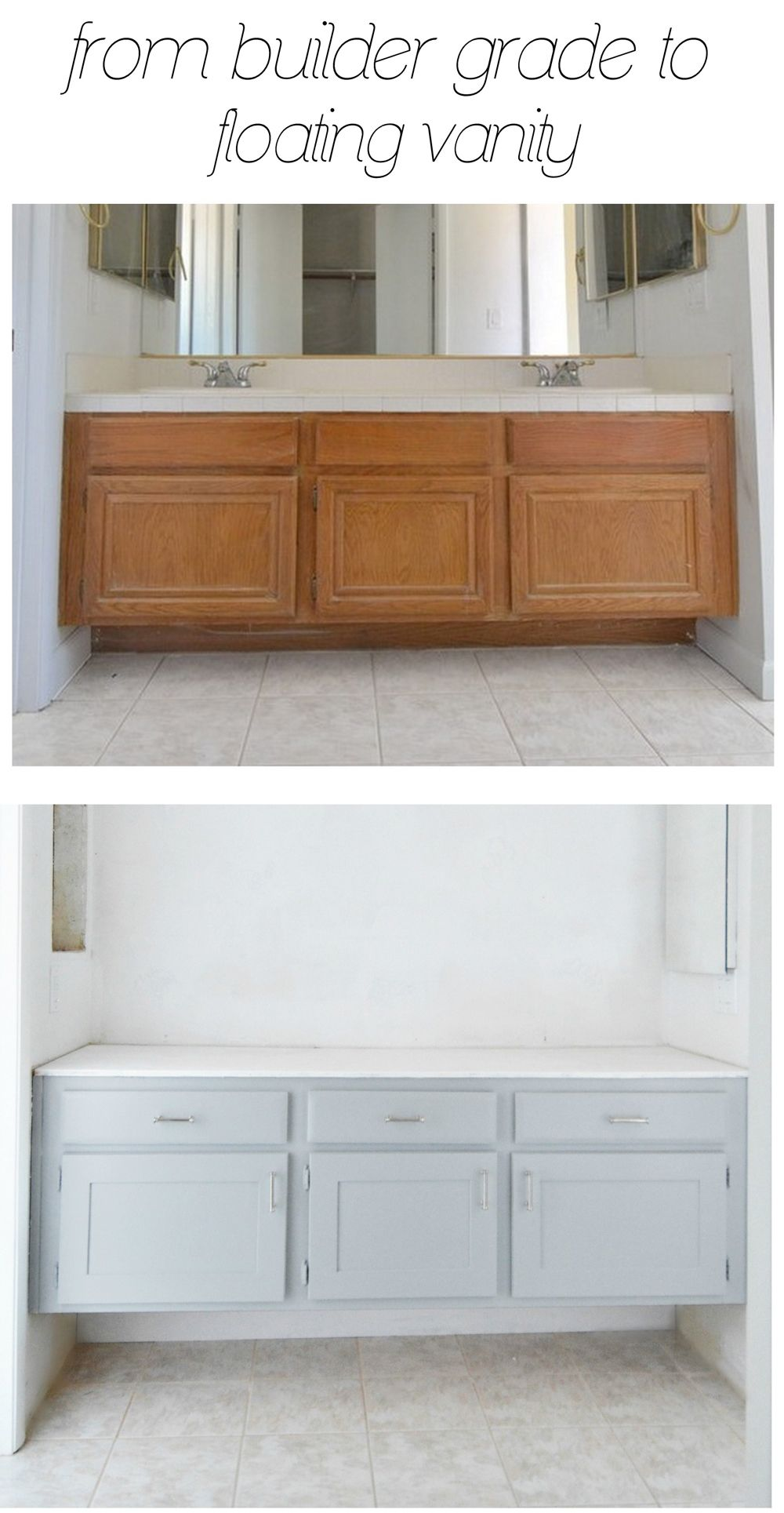 from builder grade to floating vanity | Build it | Pinterest ...