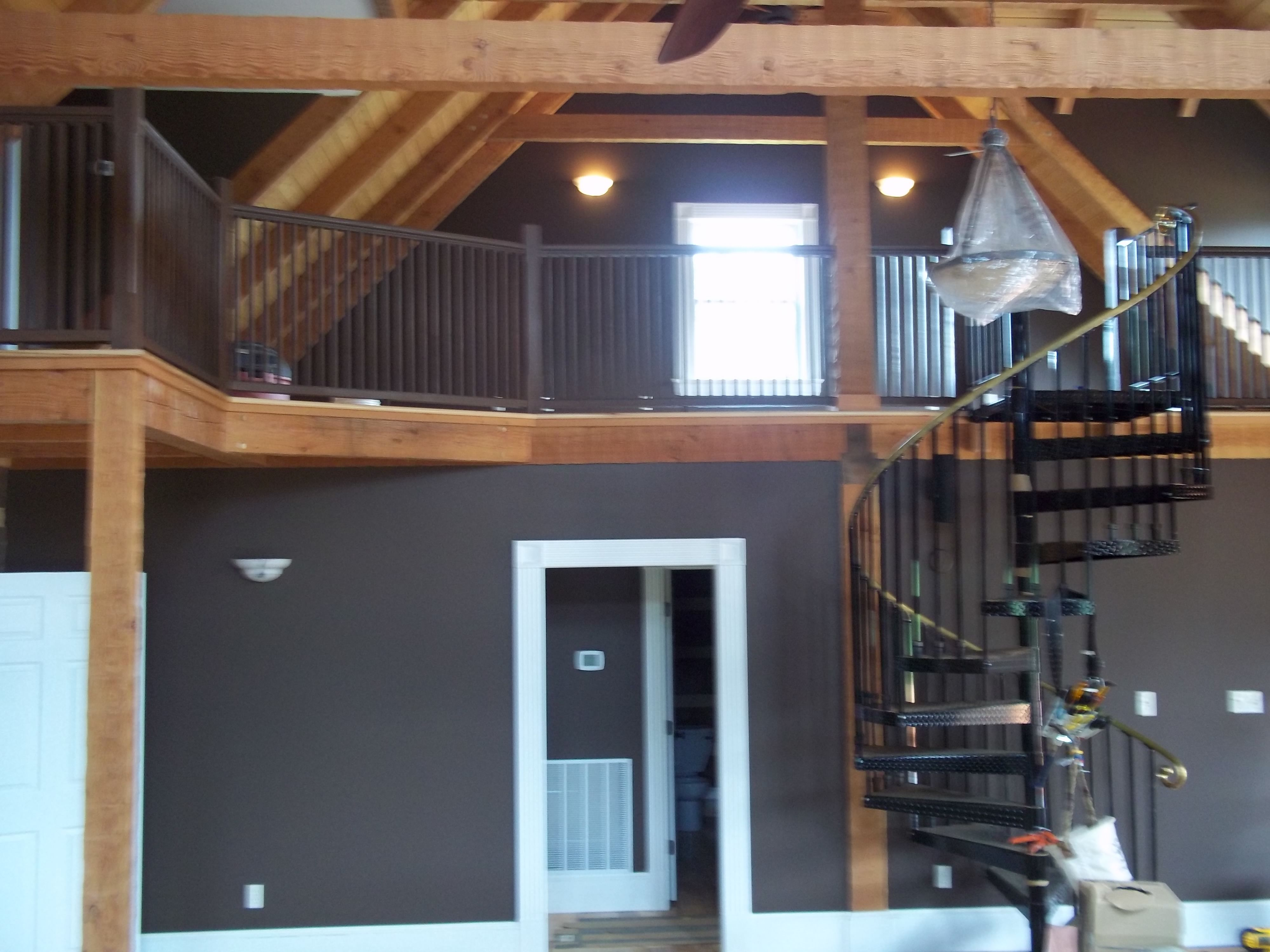 Cabin Interior Great Room View Of Loft Wall Color Leather Chair Wood Ceilings Sealed Trim Sw Super Paint Log Cabin Interior Log Homes Cabin Interiors