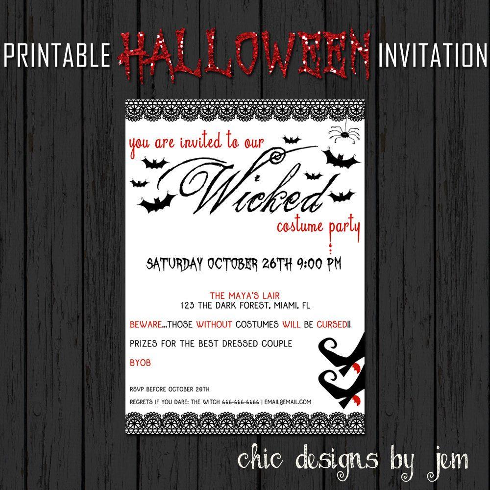 Halloween Invitation Printable Custom Adult by