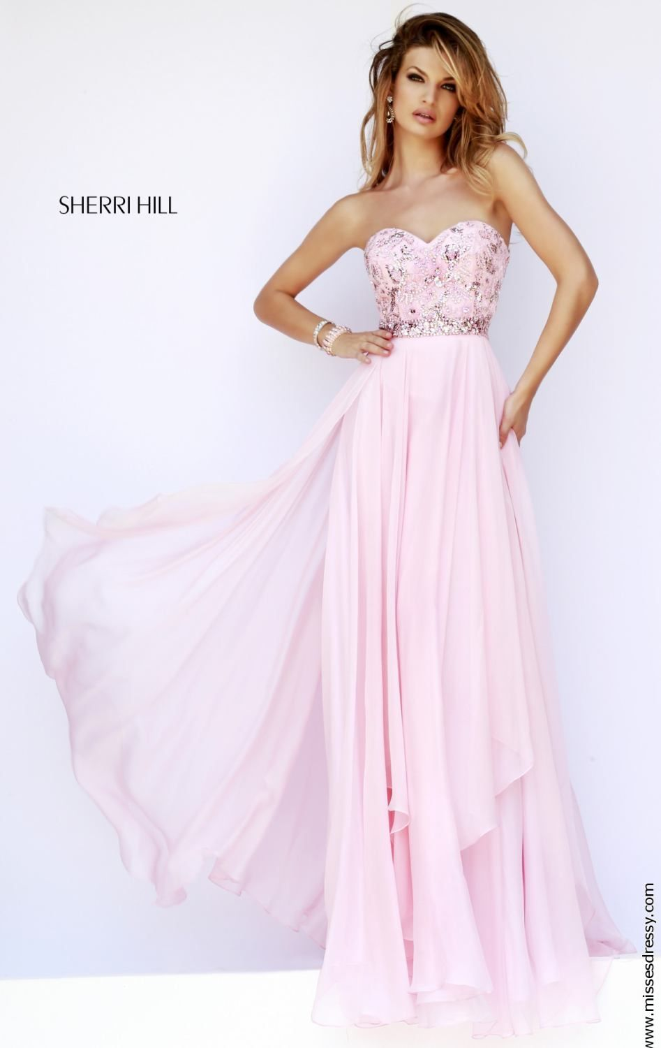834b5a05a73 Chiffon Strapless 1943 Sherri Hill Pink Prom Dress---Might make a good  Rapunzel themed prom dress