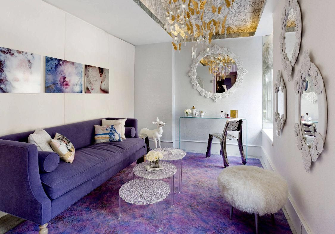 Eclectic Living Room With Purple Sofa Purple Rug And Purple Ac