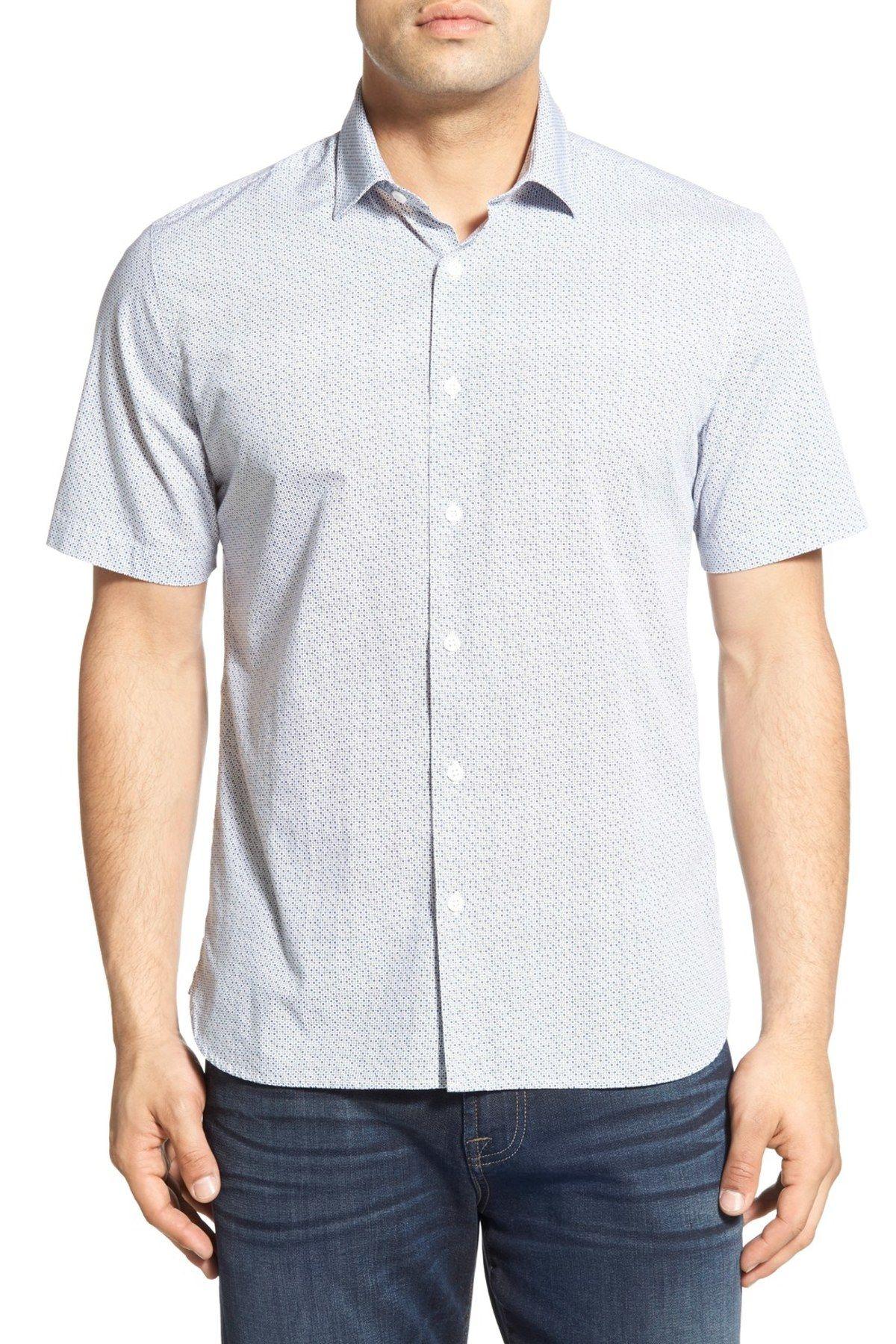 Regular Fit Short Sleeve Print Sport Shirt
