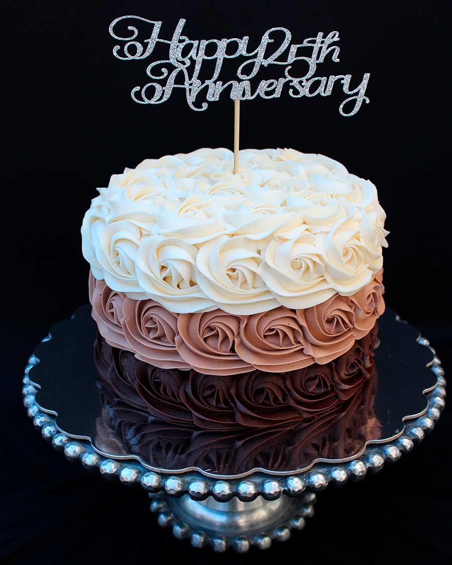 Ombre Rosette Anniversary Cake Happy Anniversary Cakes Anniversary Cake Anniversary Cupcakes