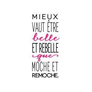 Sticker Mural Rebelle Noir Et Fuchsia 30 X 60 Cm Scheduled Via Http Www Tailwindapp Com Utm Source Pinterest Utm Medium Quotes French Quotes Super Quotes