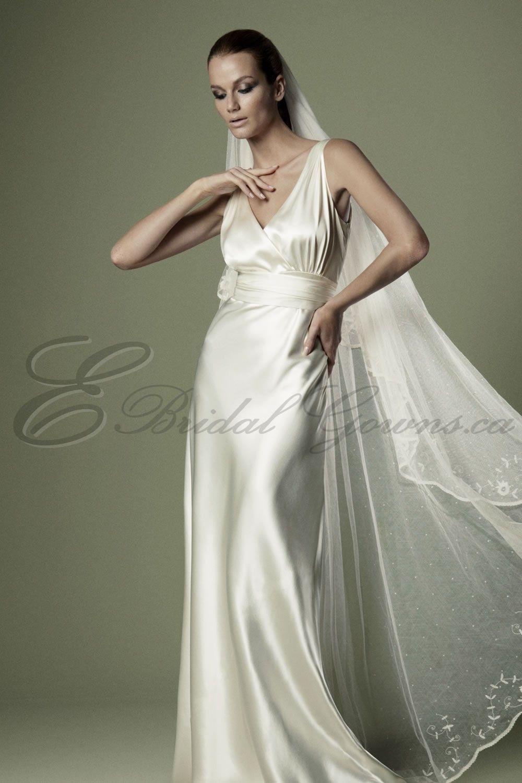 deep v neck wedding gown 2015 | ... High Waistband Crossover Bodice ...