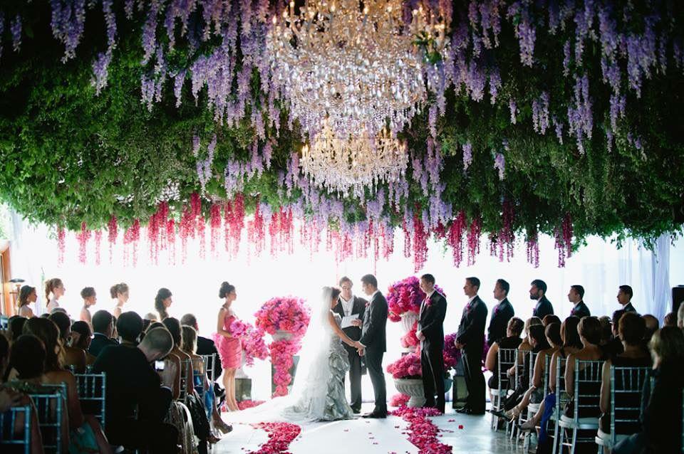 Wedding under falling flowers!