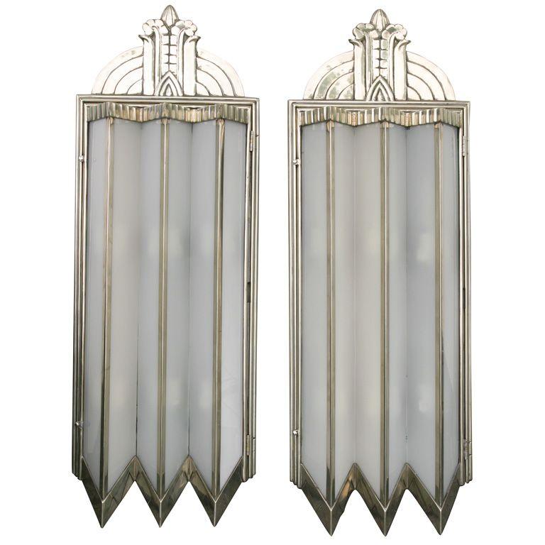 Monumental Art Deco Sconces  America  1920's