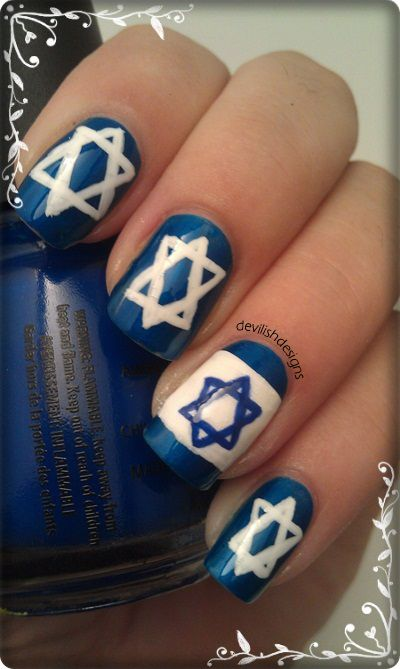 Devilishdesigns Inspired By Israel Country Nail Art David Star
