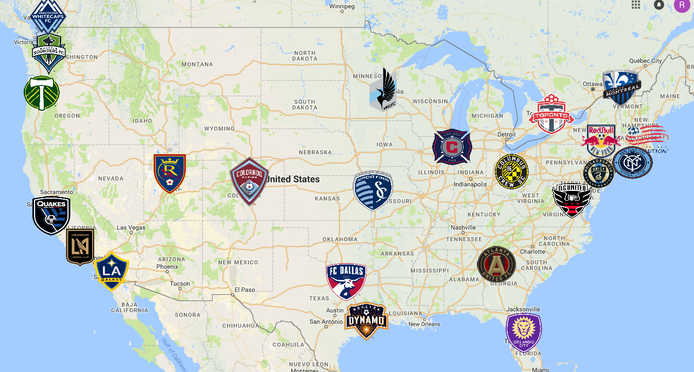 Mls By Map 2018 MLS Map | Soccer | Mls soccer, Major league soccer, Sports logo