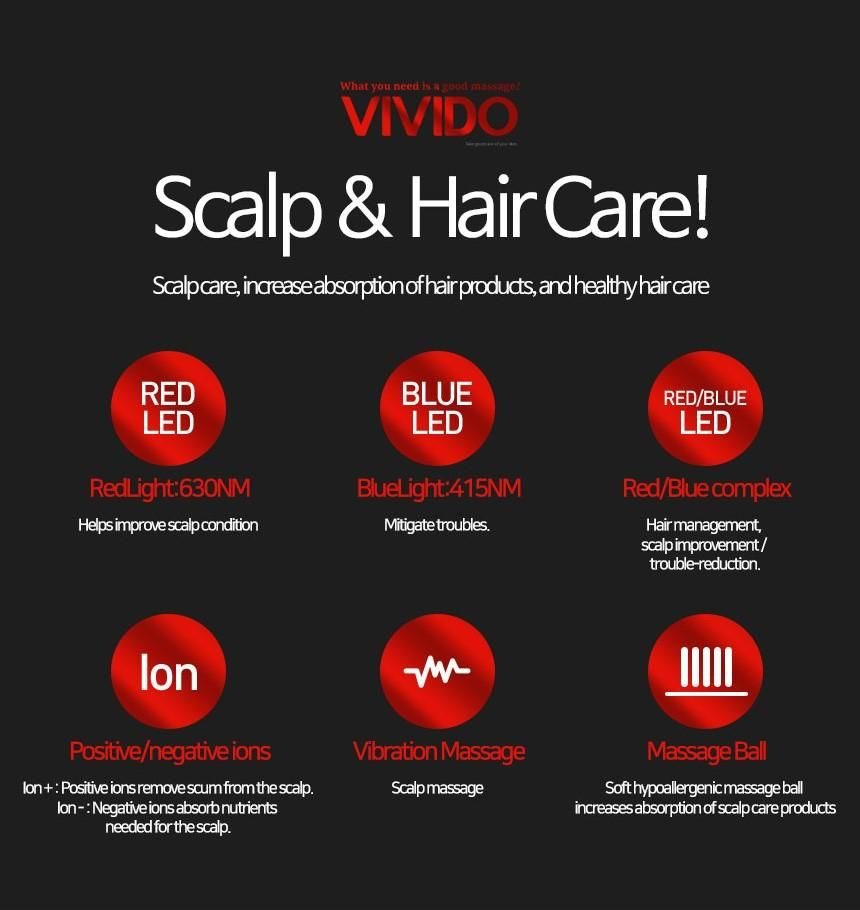 VIVIDO Black - Upgraded Anti-loss - LED+Ion Scalp 4 in 1 Vibration Scalp Massage Comb BE-106 Hair Growth Comb is a good option for a successful treatment outcome. It has a special hair parting comb design that allows the light to make good contact with the scalp. Handheld devices are easy to manipulate, and can prioritize the treatment to the exact area of the scalp you need. It's portable and easy to use! Built-in top quality rechargeable Li-polymer battery is safe and durable. The treatment fu