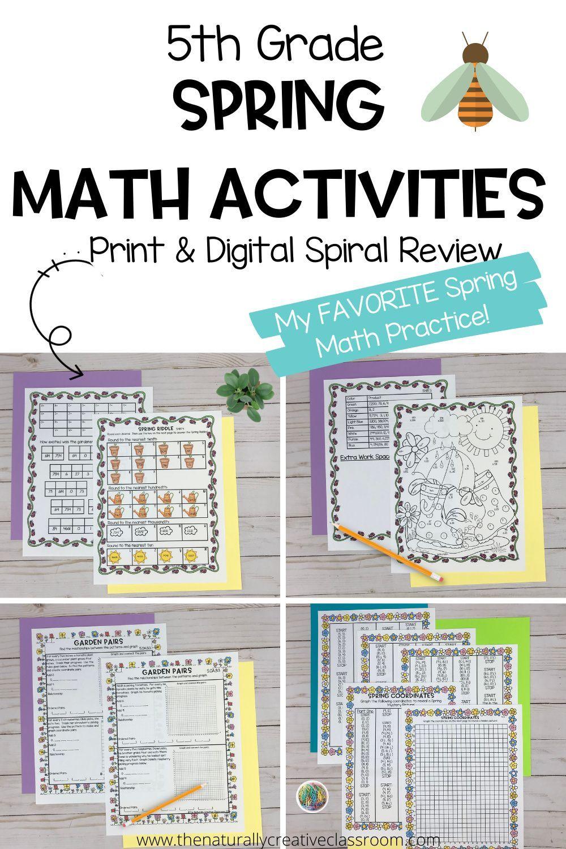 Spring Math For 5th Grade The Naturally Creative Classroom In 2021 Spring Math 5th Grades Spiral Math [ 1500 x 1000 Pixel ]