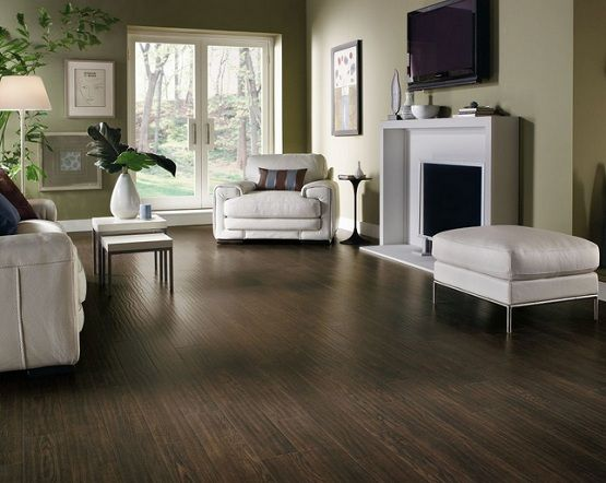 Dark Distressed Laminate Flooring In Living Room With White
