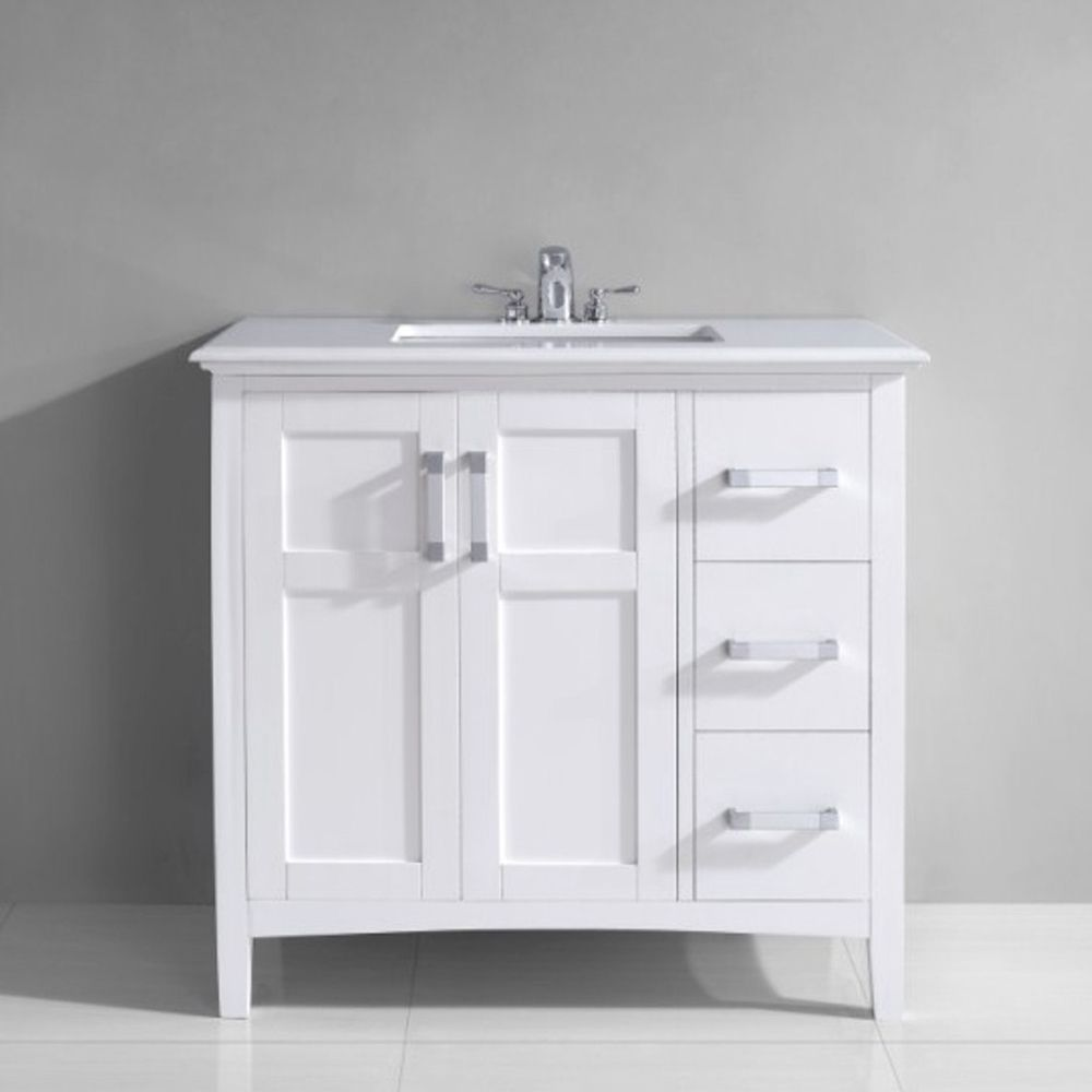 Salem 36 Inch White Marble Top Single Sink Bathroom