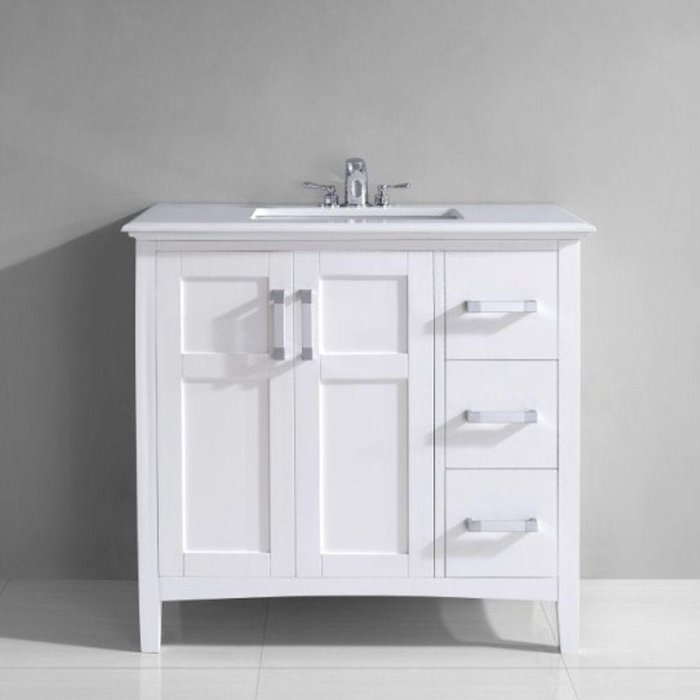 Salem' 36-inch White Marble Top Single Sink Bathroom Vanity