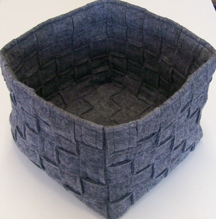 felt basket (felt strips sewed together to make it more sturdy)