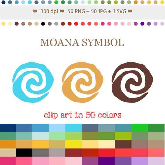 50 Colors Digital Moana Symbol Clipart Moana Sun Symbol Clip Etsy In 2021 Clip Art Scrapbook Crafts Moana