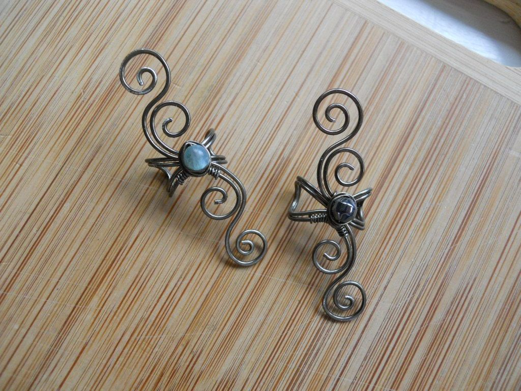 Gunmetal wire wrapped ear cuffs one with kyanite and one with gunmetal wire wrapped ear cuffs one with kyanite and one with hematite baditri Choice Image