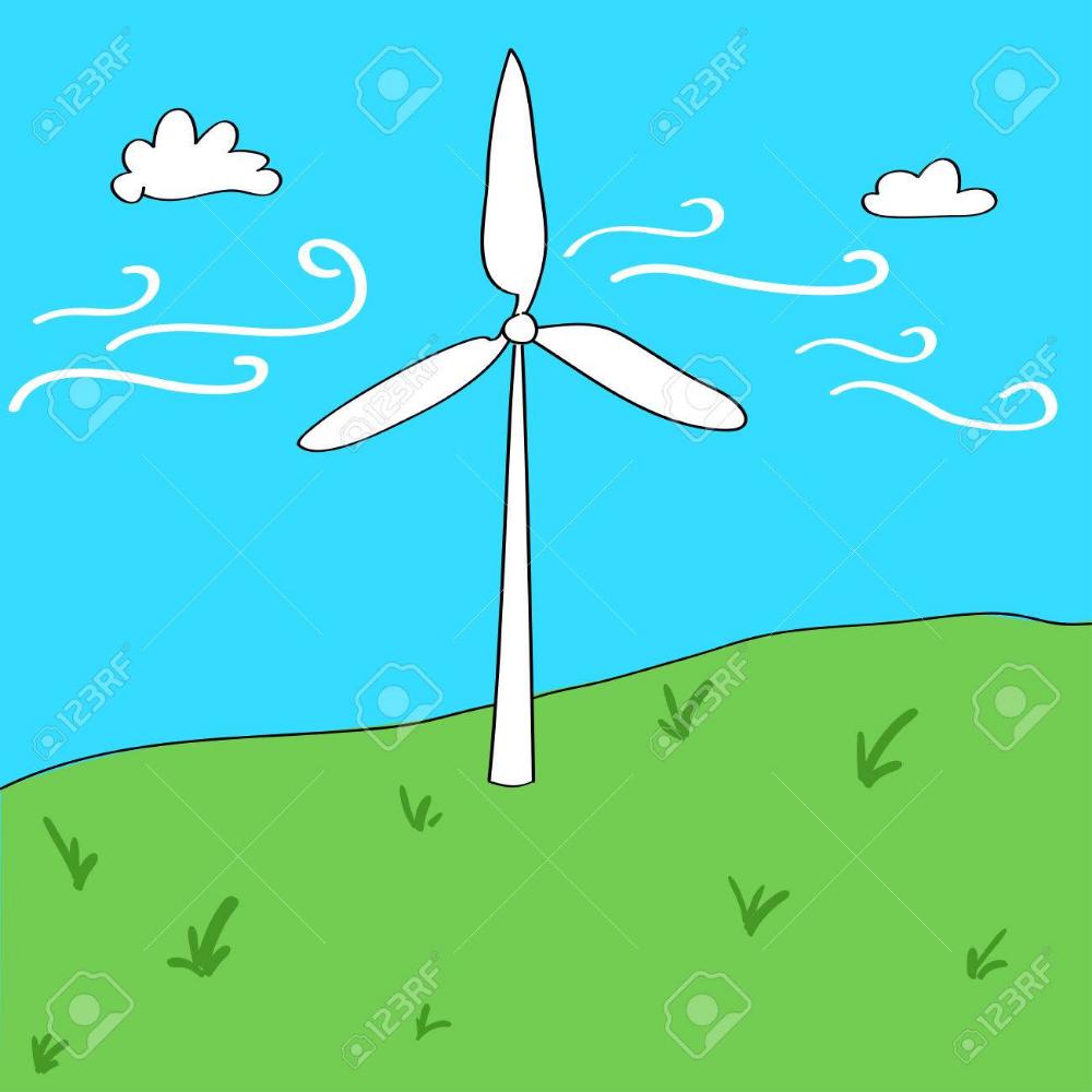 Ilustracion De Estilo De Dibujos Animados De Energia Eolica Concepto Estilos De Dibujo Dibujos Concepto
