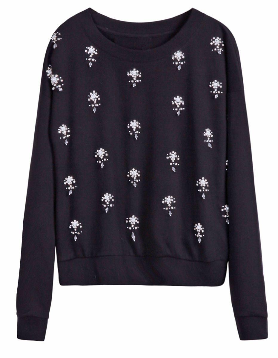Black long sleeve rhinestone pearls embellished sweatershirt