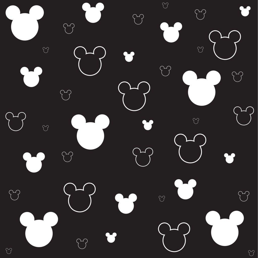シンプルなミッキーマウス柄ブラック スマホ壁紙 Iphone And Android