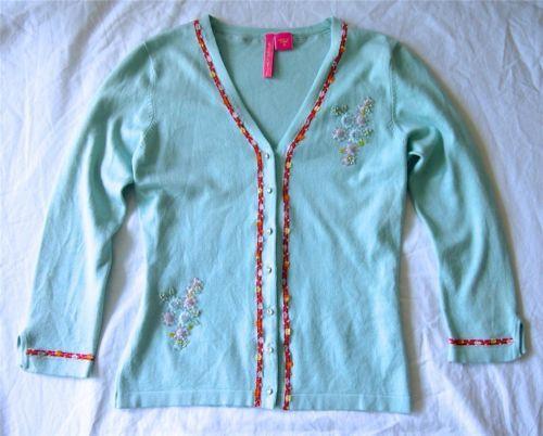 Anthropologie Charlotte Tarantola Blue Embroidered Embellished Cardigan Top M 8   eBay