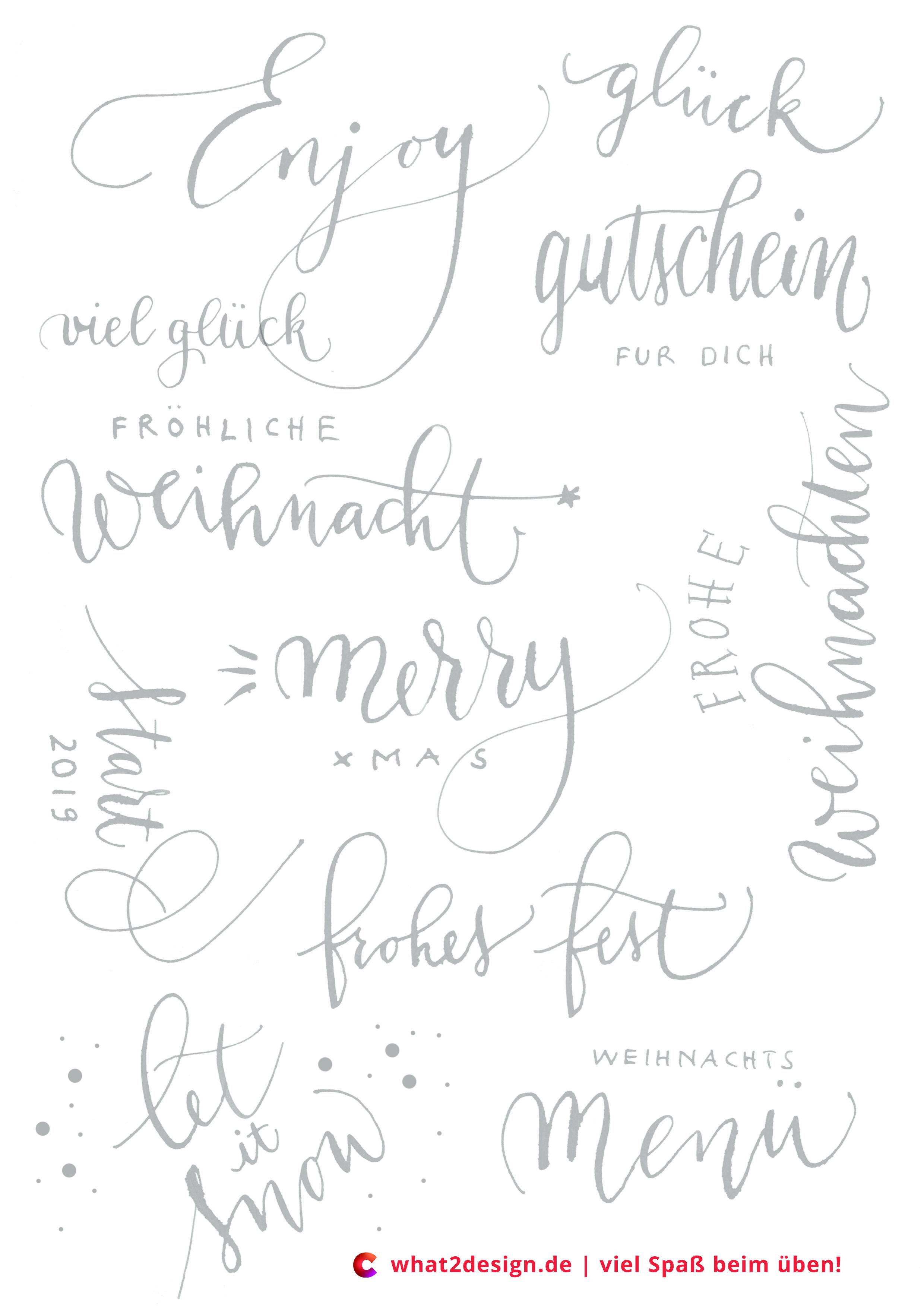 Practice The Xmas Lettering Weihnachten Practicesheet