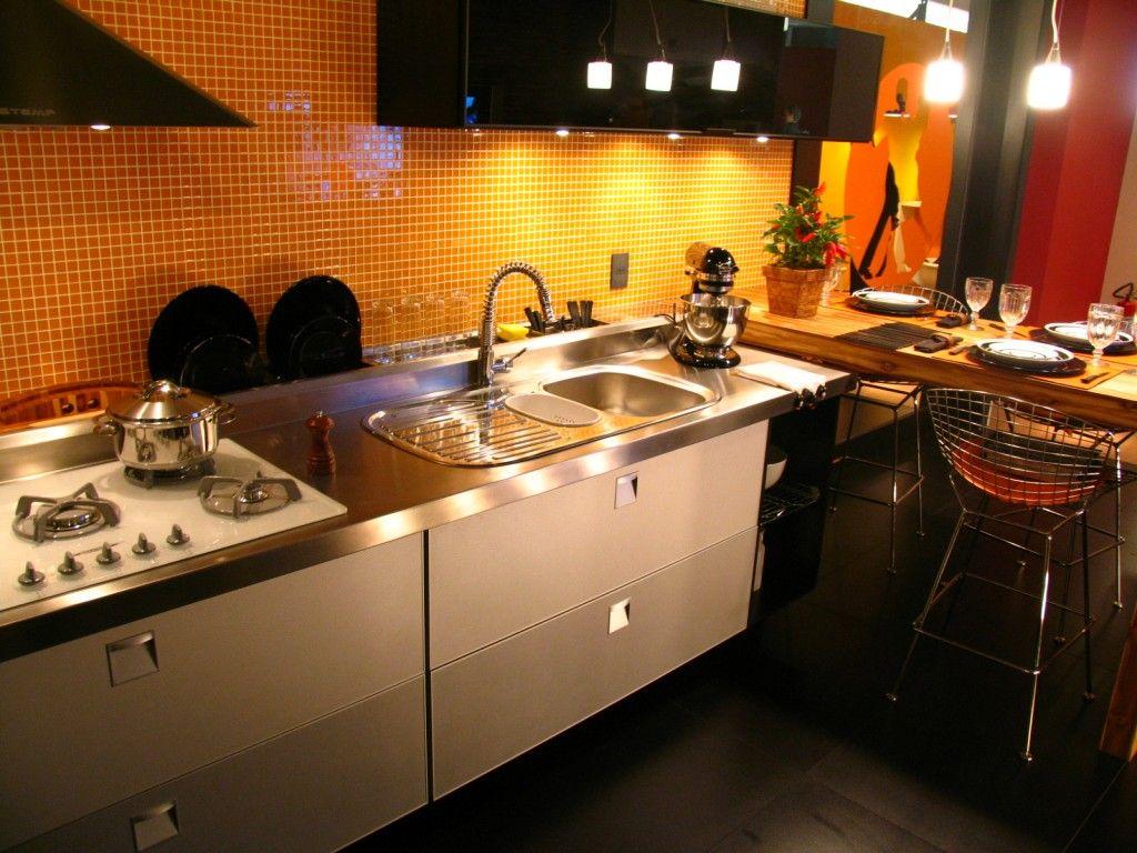 #C69205 Bancada de inox Cozinhas Pinterest 1024x768 px Bancada Cozinha Americana Inox #1275 imagens