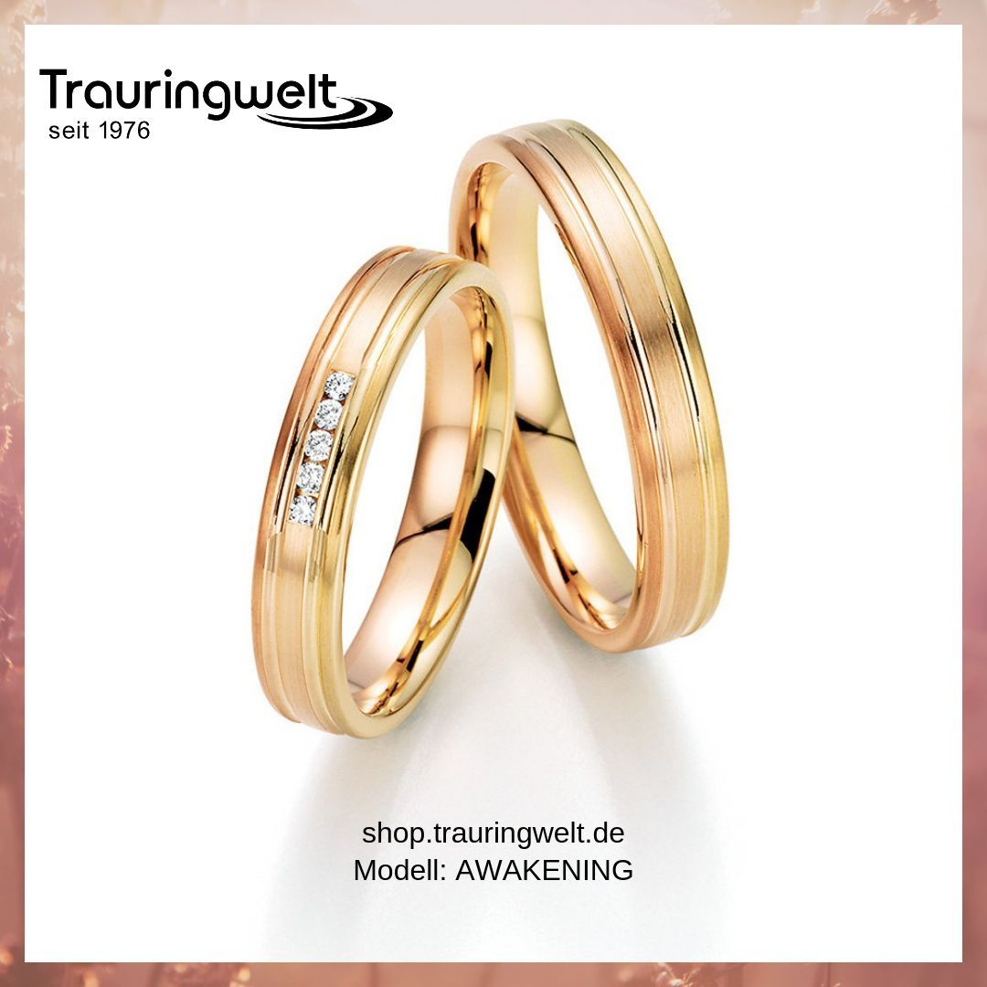 Wunderschöne Eheringe Trauringe Aus 585 Gelb Rosé Rotgold Mit Diamantbesatz Trauringe Schöne Eheringe Eheringe