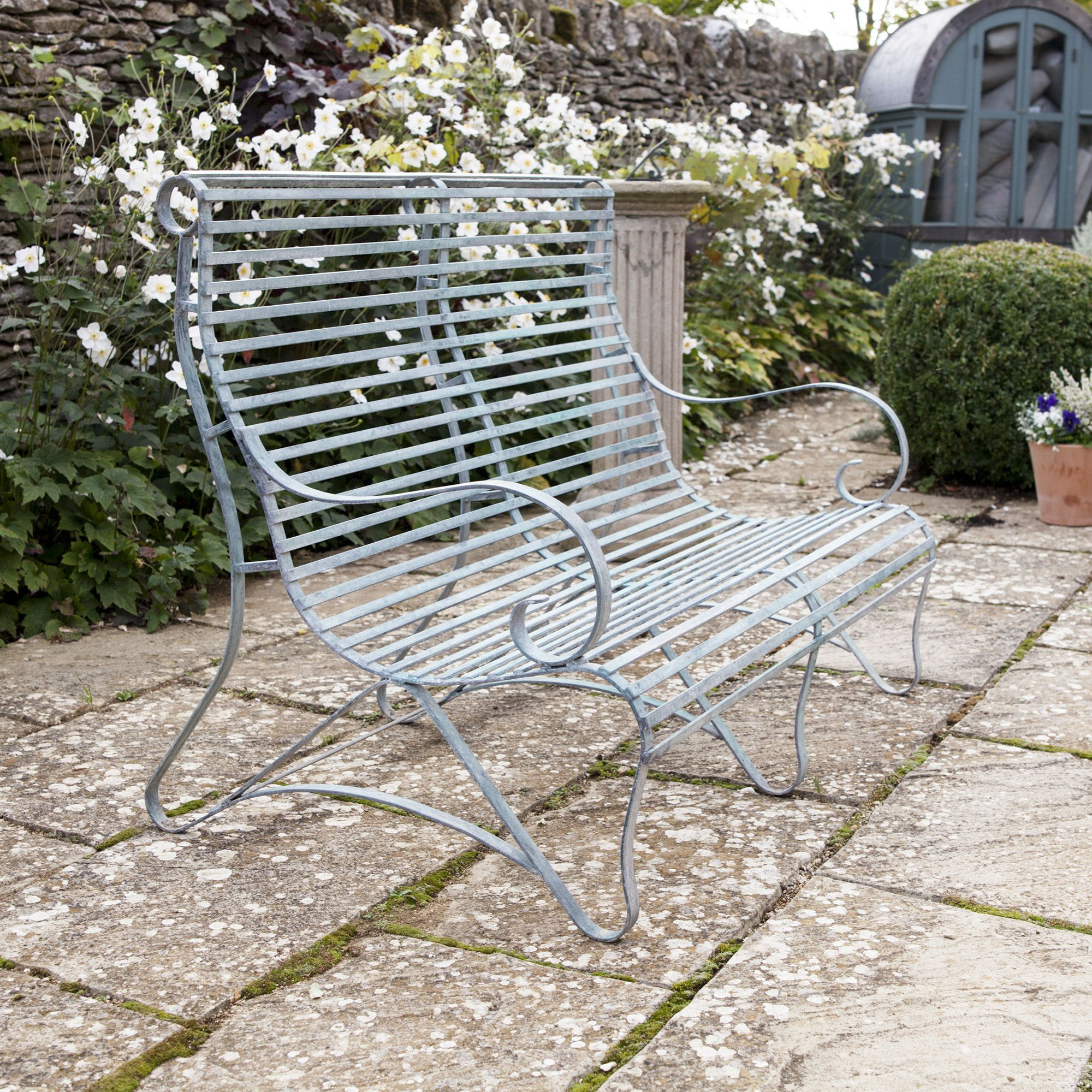 Marvelous Verdigris Roll Top Garden Bench 2 Seater Garden Metal Bralicious Painted Fabric Chair Ideas Braliciousco