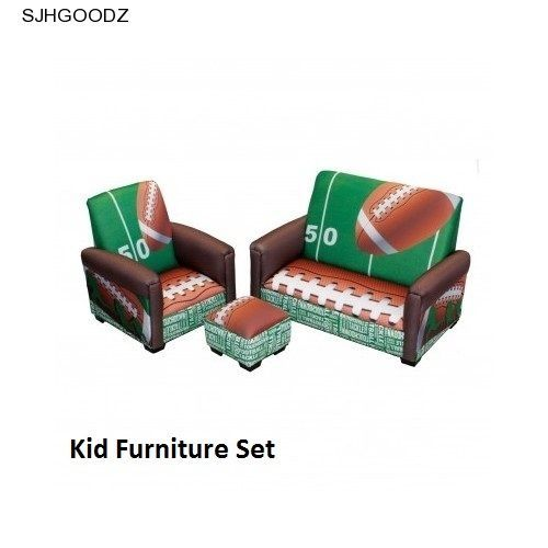 Couch Chair Ottoman Kid Furniture Set Bedroom Football Theme Boy Toddler 3  Piece #KomfyKings