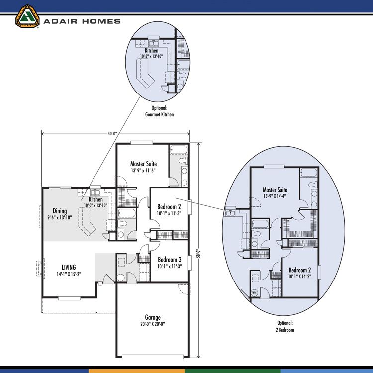 The Beverly 1340 Home Plan Adair Homes Option W Bigger