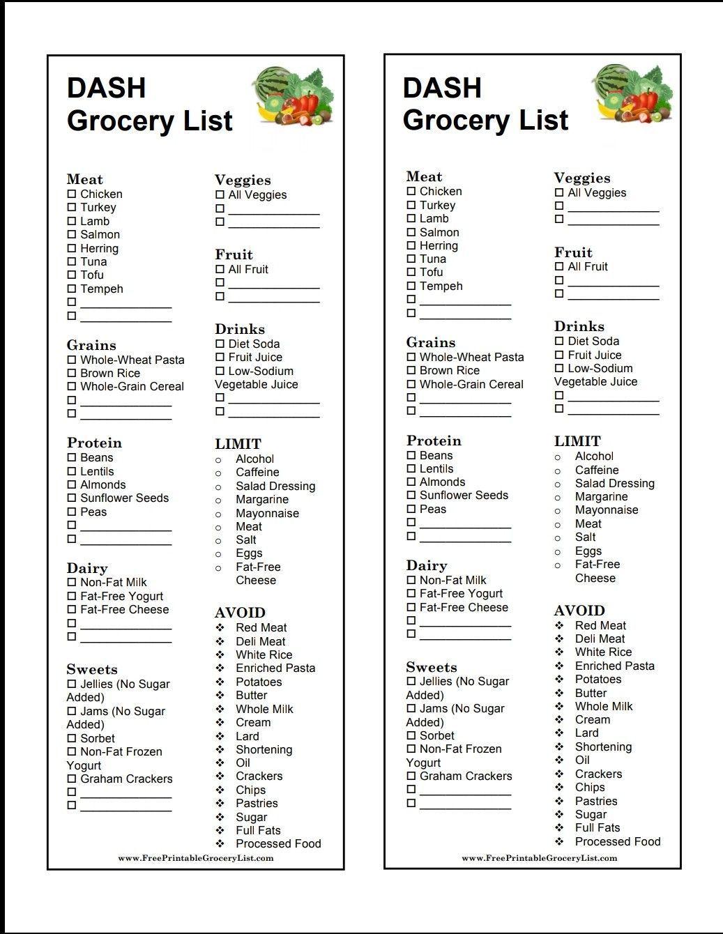 Dash diet grocery list in 2020 Dash diet recipes, Dash