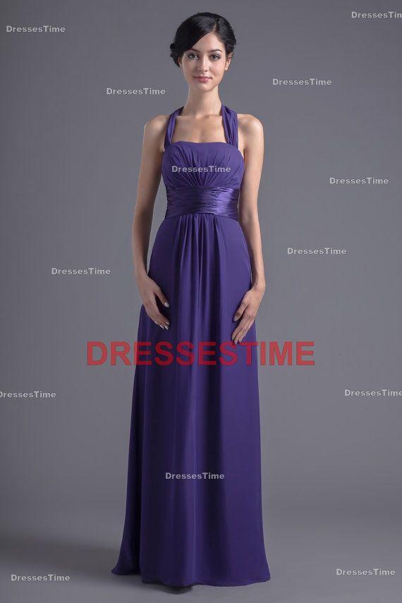 9f15e65d9d2 Purple bridesmaid dress - Cheap simple long bridesmaid dress   chiffon wedding  guest dress   halter plus size bridesmaid dress on Etsy