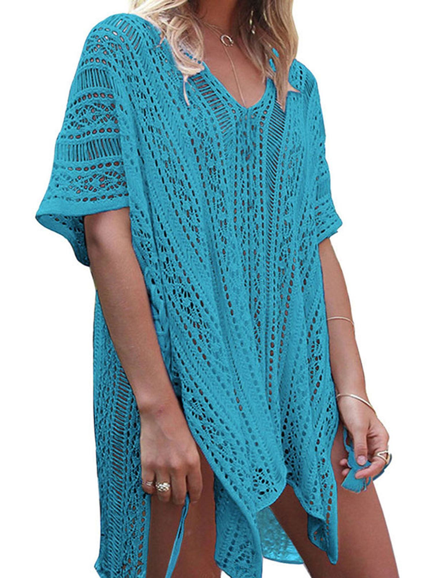 Women V-neck Hollow Out Swimwear Swimsuit Cover Ups Loose Knitted Beach Shirts Blouses & Shirts
