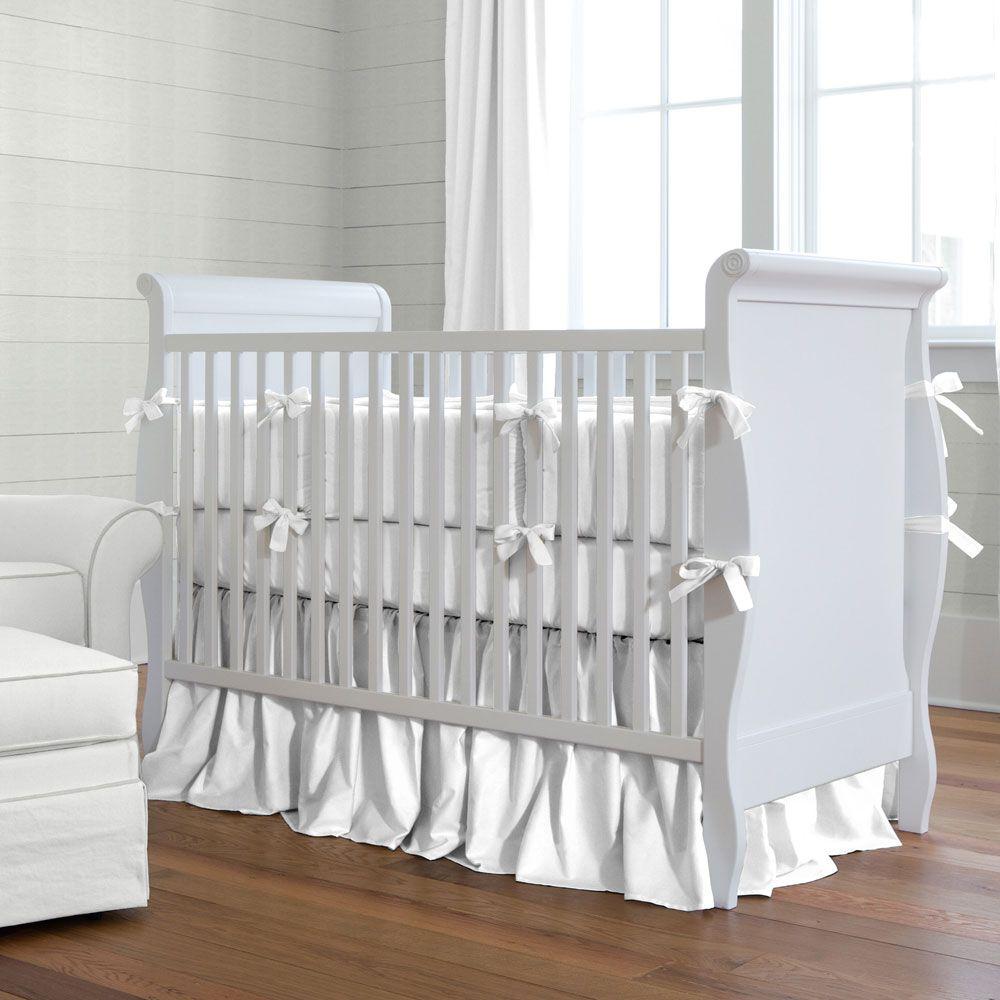 white baby bedding  solid white crib bedding  carousel designs  - solid white baby crib bedding collection