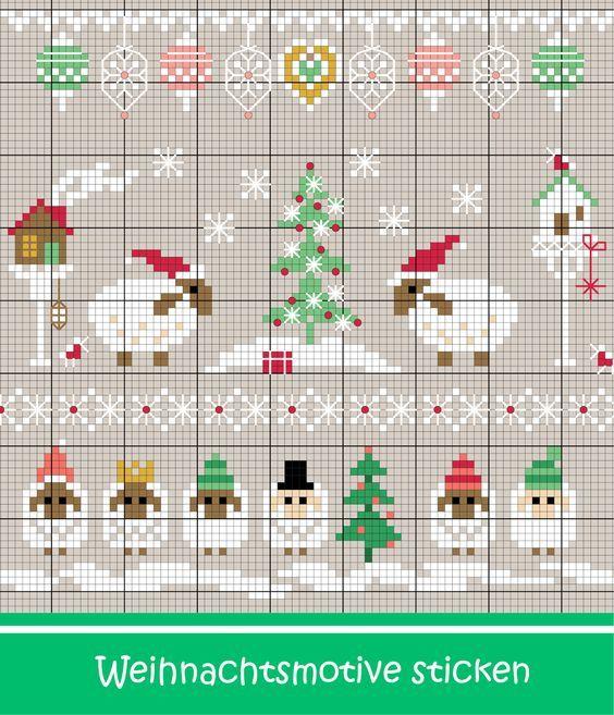 weihnachtliche schafe sticken entdecke zahlreiche. Black Bedroom Furniture Sets. Home Design Ideas