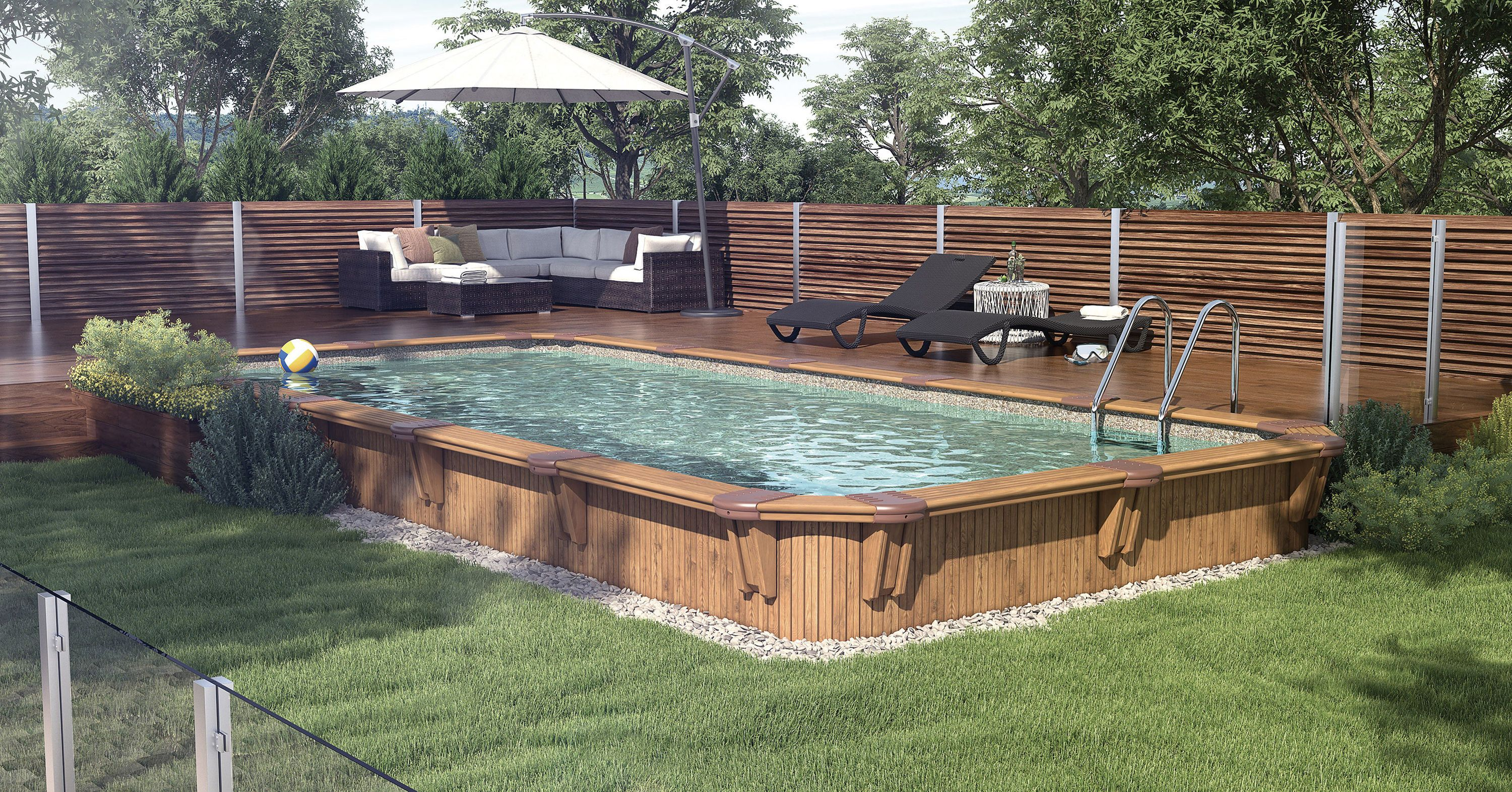 This New Rectangular Pool Sleek Whit Well Defined Lines Will