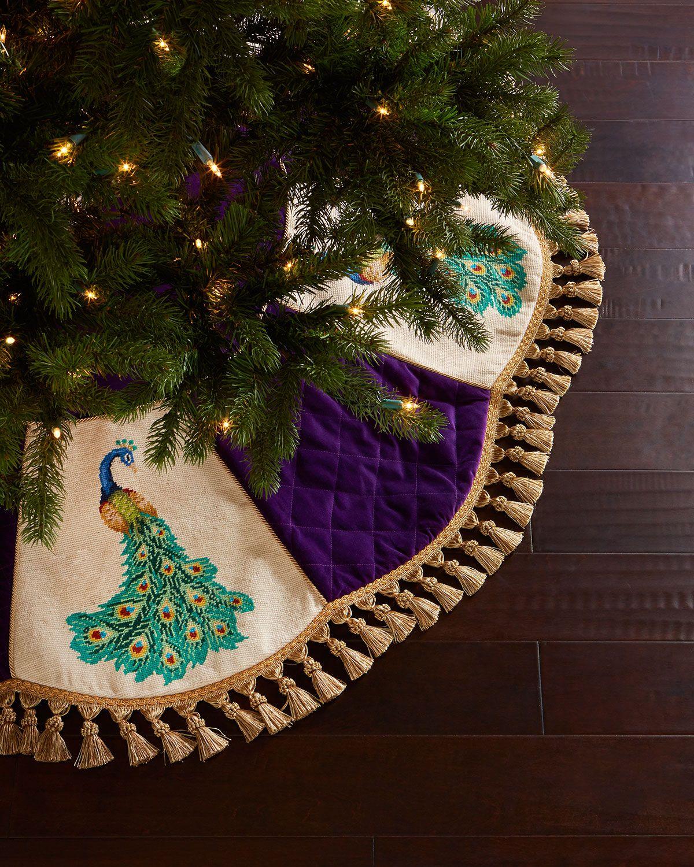 peacock needlepoint christmas tree skirt purple peking handicraft - Peacock Christmas Tree Skirt