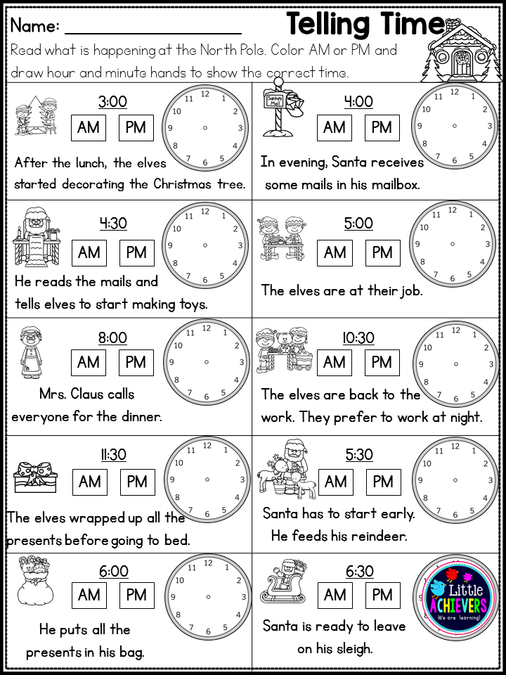 Christmas Worksheets Math And Literacy First Grade Math Worksheets Time Worksheets First Grade Math