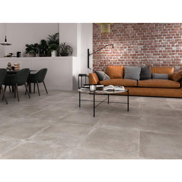 Moliere Gris Porcelain Tile In 2020 Concrete Floors Living Room Living Room Tiles Concrete Tile Floor
