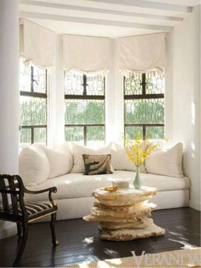 C Shaped Window Seat Hugging A Bay Window. Find This Pin And More On Dining  Room Curtains ...