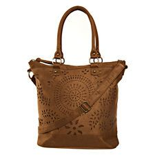 Circle Cut Out Tote, Cognac in color Cognac.